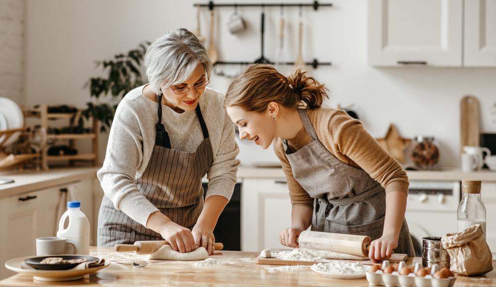 grandma-grand daughter happy baking